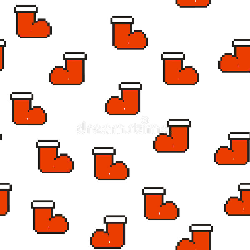 Sömlös modell med röda sockor för gåvor Jul bakgrund för nytt år, konst för vektorillustrationPIXEL vektor illustrationer