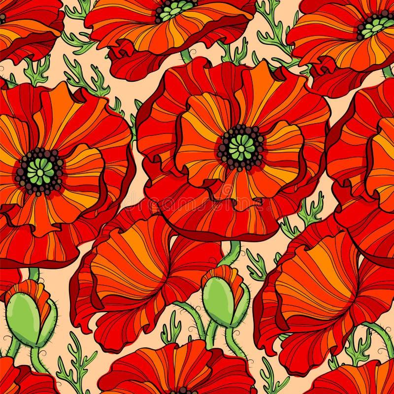 Sömlös modell med röda vallmoblommor vektor för detaljerad teckning för bakgrund blom- stock illustrationer