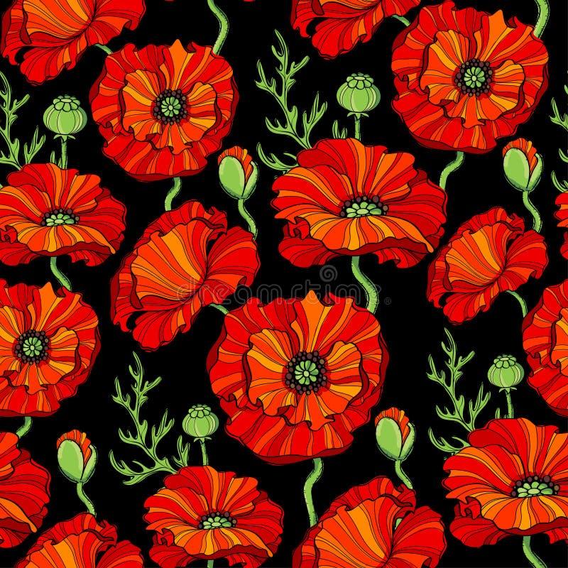 Sömlös modell med röda vallmoblommor vektor för detaljerad teckning för bakgrund blom- royaltyfri illustrationer