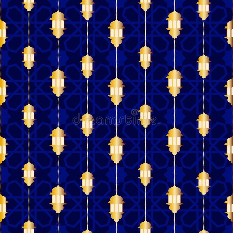 Sömlös modell med ramadan symbolsymboler stock illustrationer