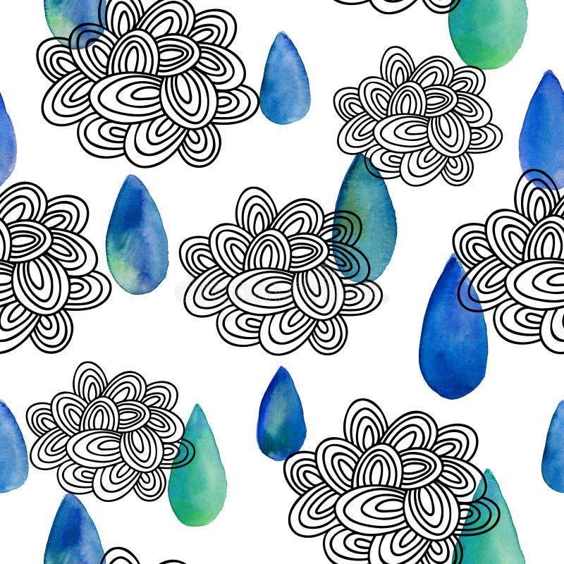 Sömlös modell med regnmoln i klotterstil- och vattenfärgdroppar vektor illustrationer