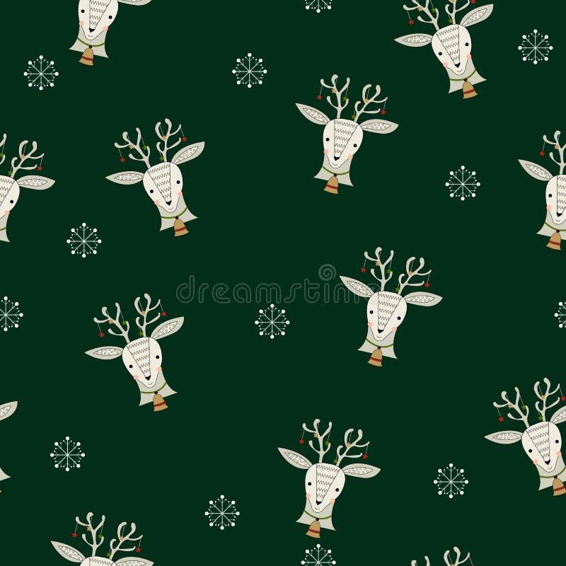 Sömlös modell med renen och snöflingor stock illustrationer