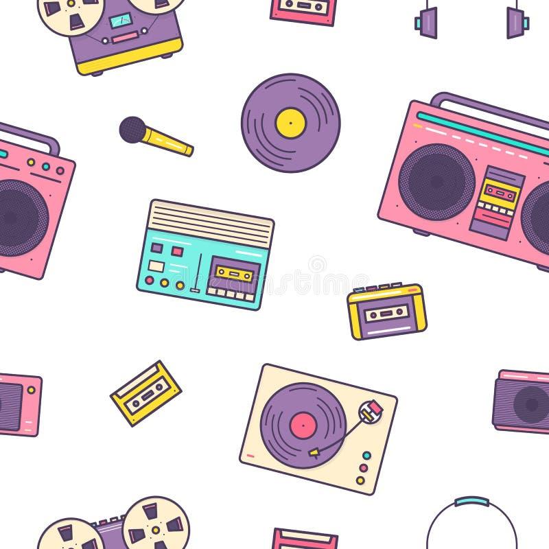 Sömlös modell med retro elektroniska apparater på vit bakgrund - parallella musikspelare, kassettregistreringsapparat, boombox stock illustrationer