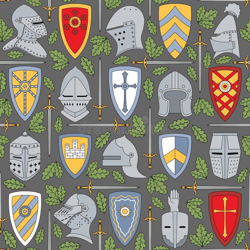 Sömlös modell med ridderliga hjälmar och sköldar vektor illustrationer