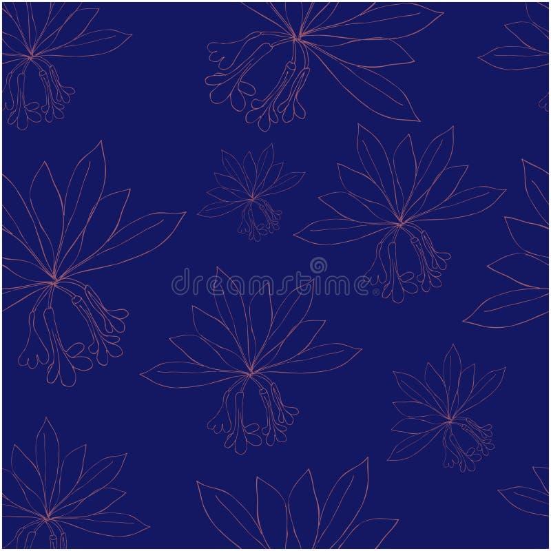 Sömlös modell med rododendronblommor och sidor vektor royaltyfri illustrationer
