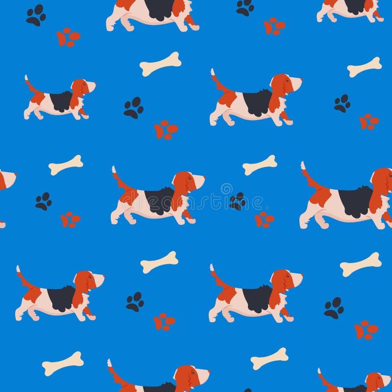 Sömlös modell med rolig tecknad filmbassethund Bakgrund med den gulliga familjhunden stock illustrationer