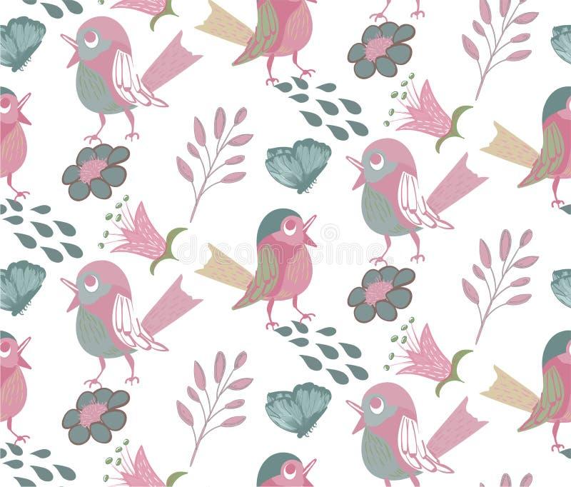 Sömlös modell med roliga nätta fåglar royaltyfri illustrationer