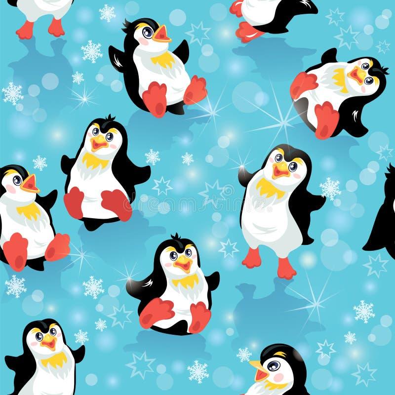 Sömlös modell med roliga pingvin och snöflingor royaltyfri illustrationer