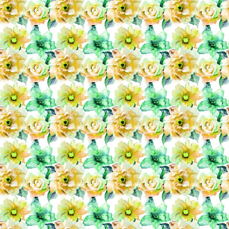 Sömlös modell med ros- och Gerber blommor royaltyfri illustrationer