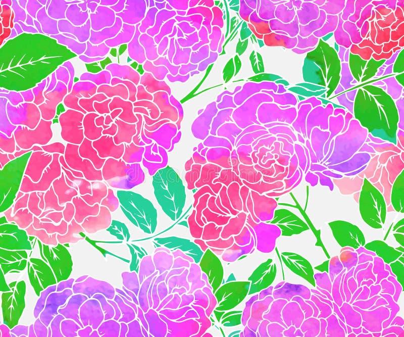 Sömlös modell med rosa buskerosor royaltyfri illustrationer