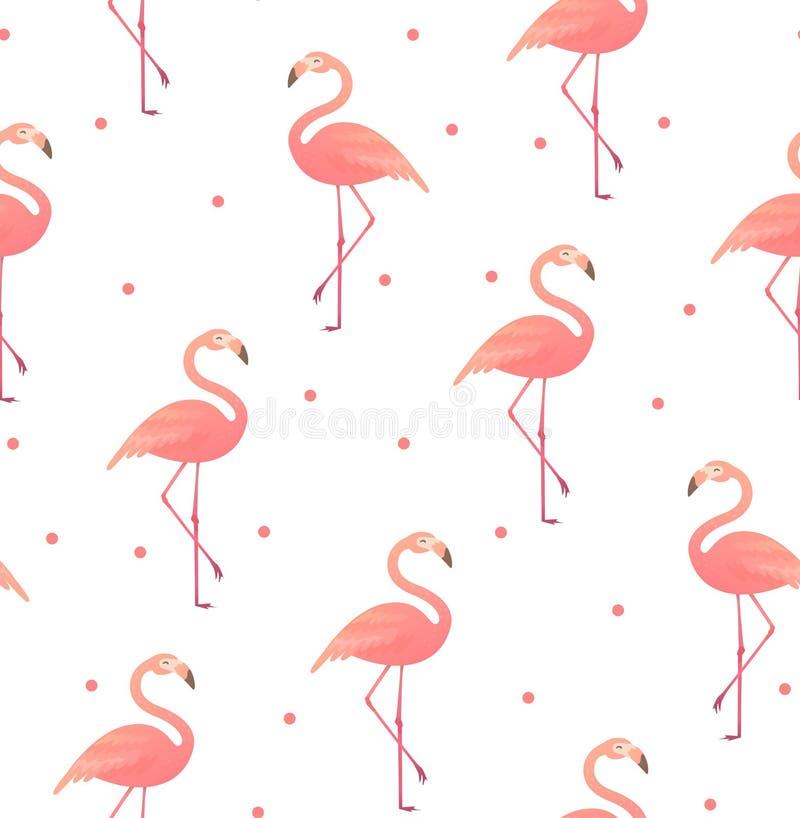 Sömlös modell med rosa flamingo stock illustrationer