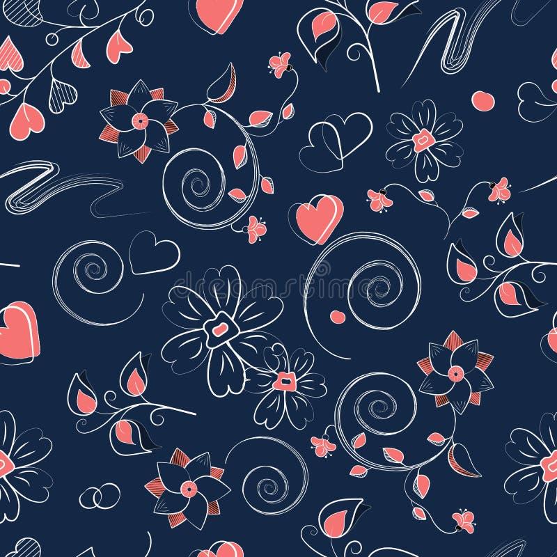 Sömlös modell med rosa hjärtor, krullning och blommor royaltyfri illustrationer