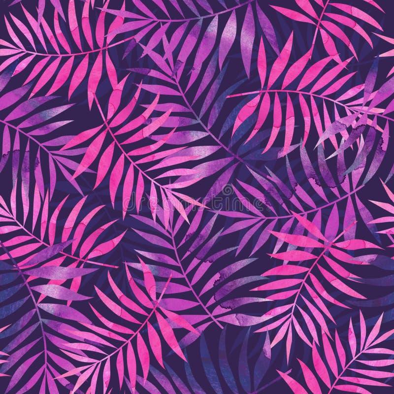 Sömlös modell med rosa och purpurfärgade tropiska palmblad på da vektor illustrationer
