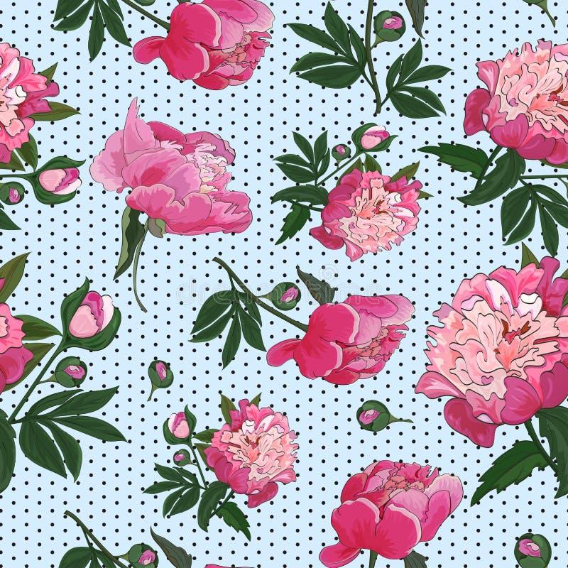 Sömlös modell med rosa pioner på liten prickbakgrund vektor royaltyfri illustrationer