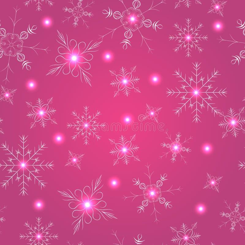 Sömlös modell med rosa snöflingor vektor illustrationer