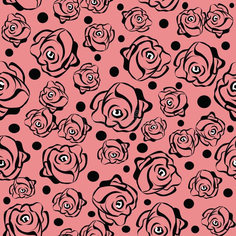 Sömlös modell med rosor i rosa färger stock illustrationer
