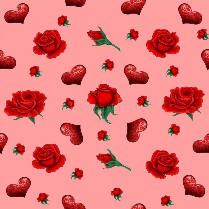 Sömlös modell med rosor och hjärtor royaltyfri illustrationer