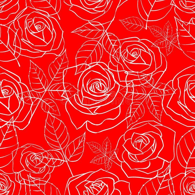 Sömlös modell med rosor på ett rött royaltyfri illustrationer