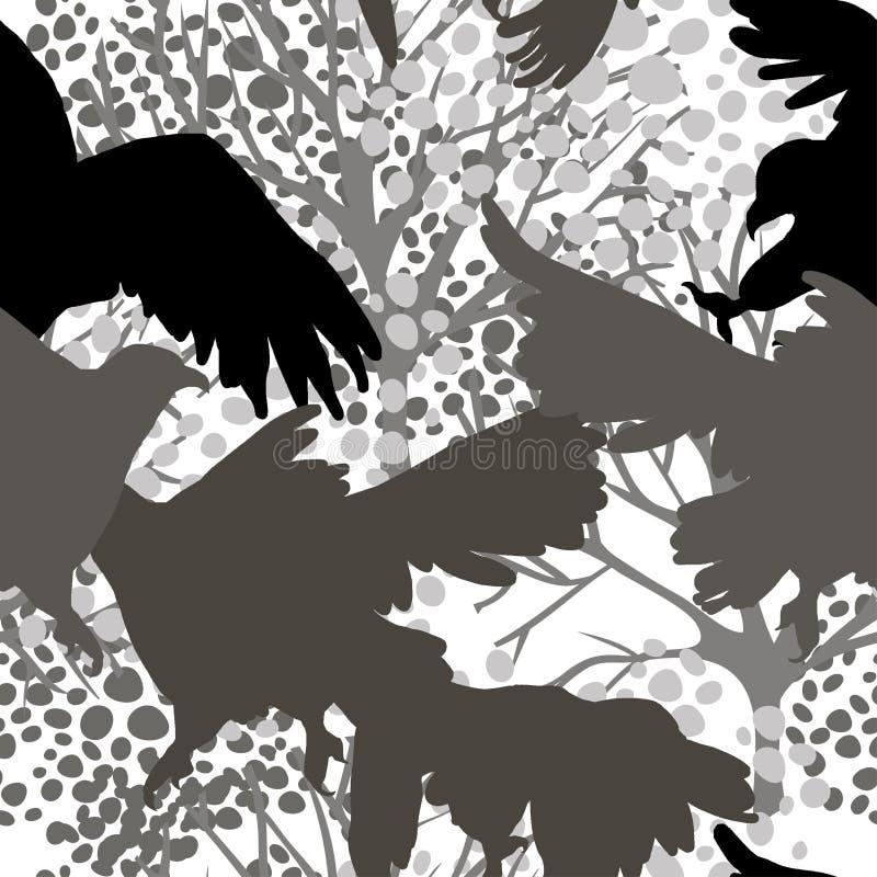 Sömlös modell med rov- fågelkonturer vektor illustrationer