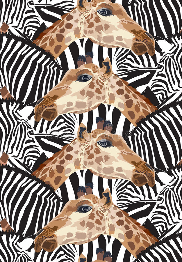 Download Sömlös Modell Med Sebran Och Giraffet Vektor Illustrationer - Illustration av målarfärg, stam: 78730020