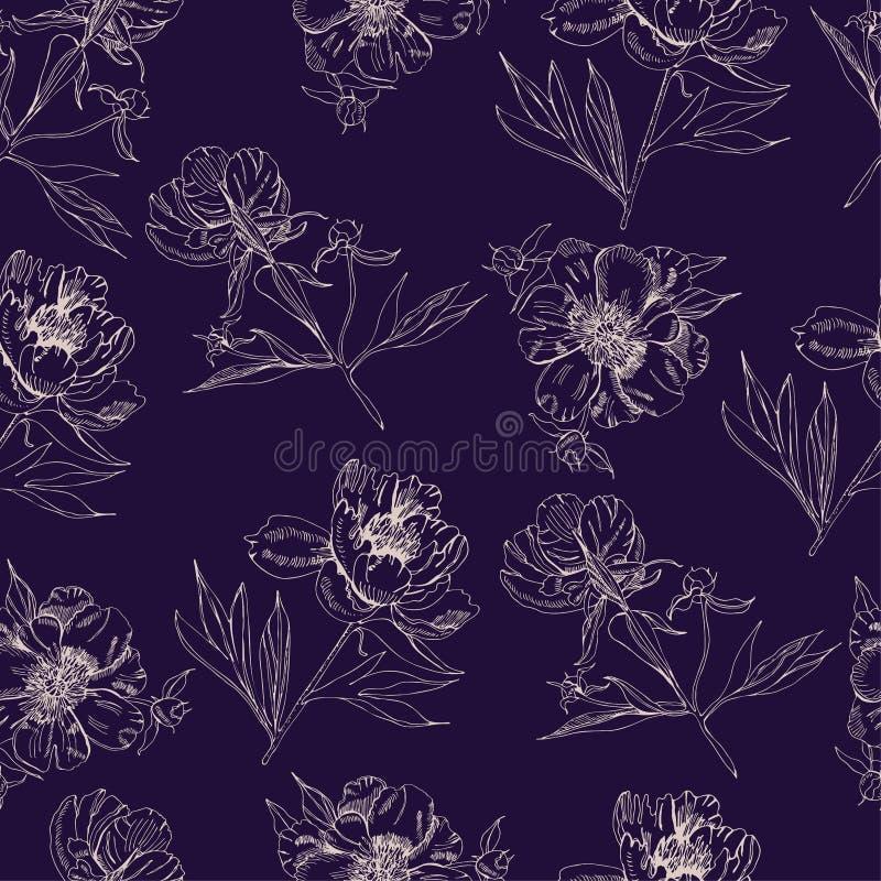 Sömlös modell med sepiakonturer av blommor av pionen Handen dragit f?rgpulver och inverterat skissar Objekt på mörkt - blå bakgru stock illustrationer