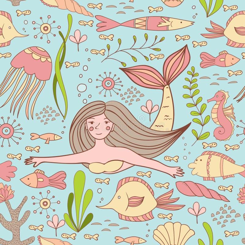 Sömlös modell med sjöjungfrun, fiskar, korall, skalet, seahorsen och havsväxter vektor illustrationer