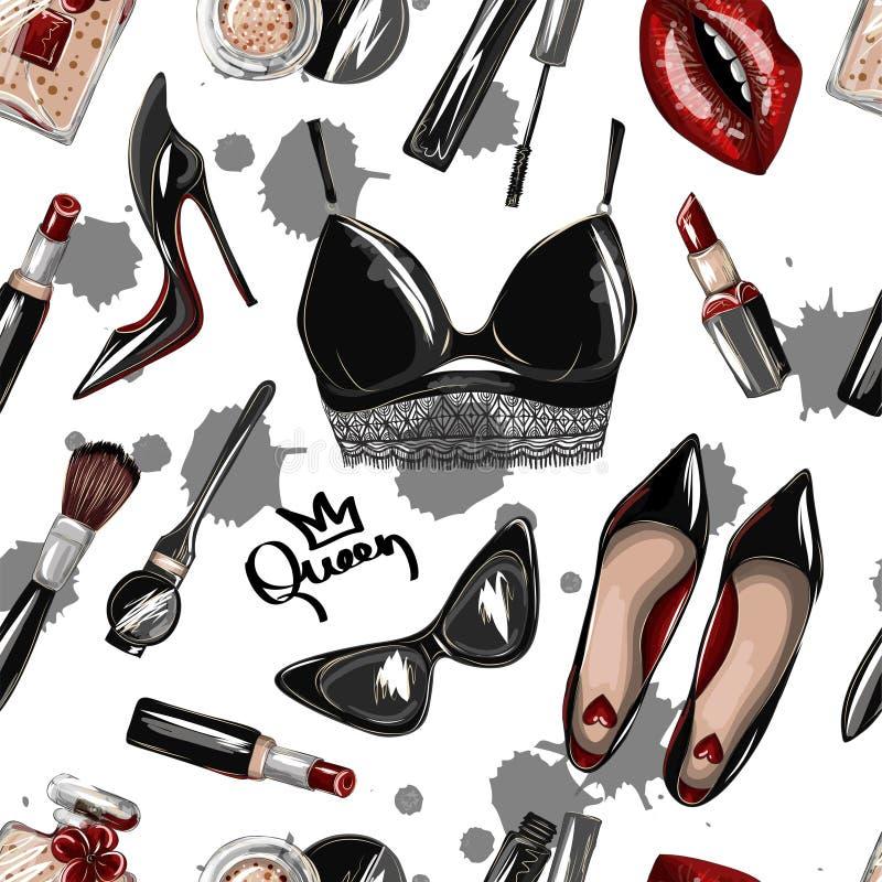 Sömlös modell med skördöverkanten, kanter, skor, läppstift, solglasögon, borste royaltyfri illustrationer