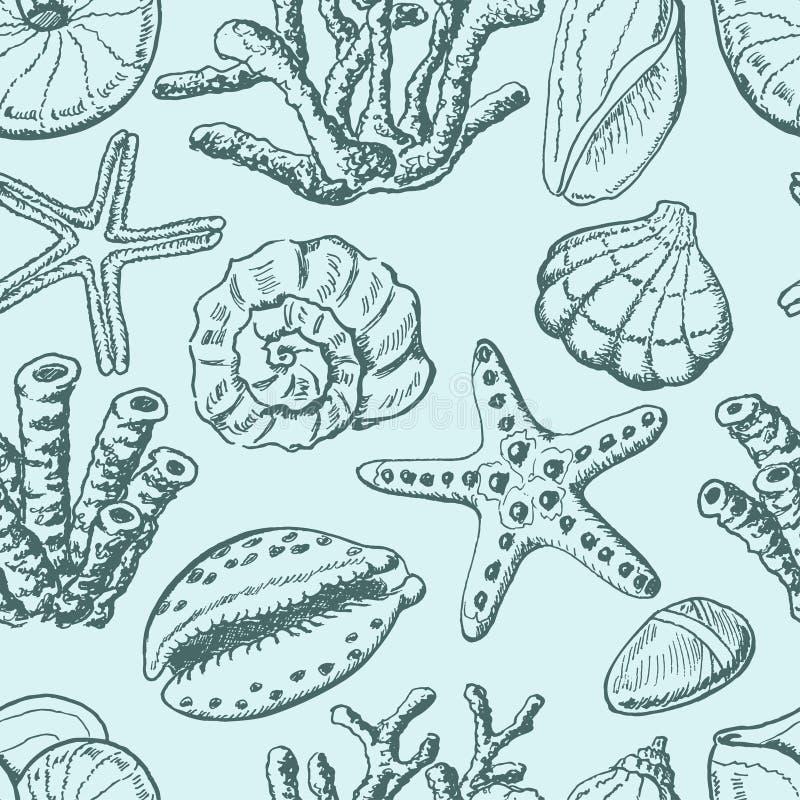 Sömlös modell med skal, korall och sjöstjärnan på blå bakgrund royaltyfri illustrationer