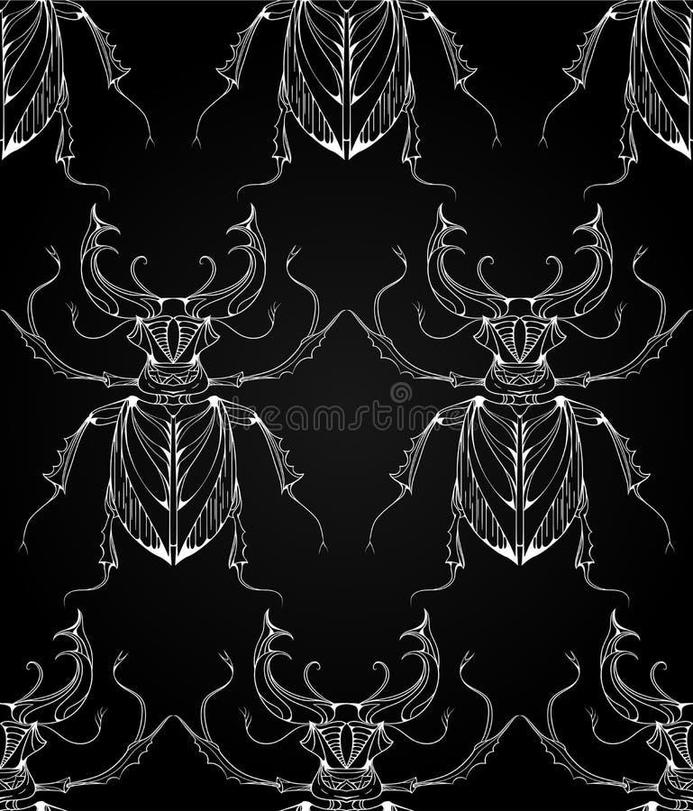 Sömlös modell med skalbaggehjortar med stam- modeller stock illustrationer