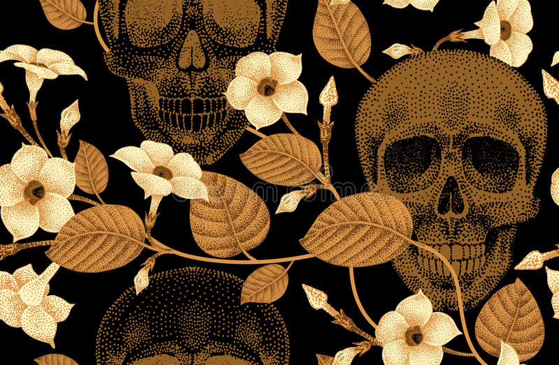 Sömlös modell med skallar och blommor vektor illustrationer