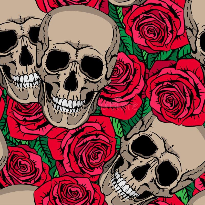 Sömlös modell med skallar och röda rosor stock illustrationer