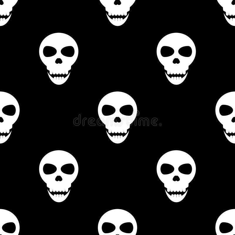 Sömlös modell med skallar på en svart bakgrund vektor illustrationer