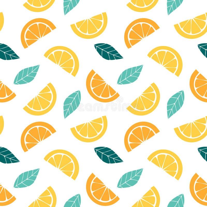 Sömlös modell med skivor av den citrusa grafiska teckningen av apelsinen, citronen och sidor vektor illustrationer