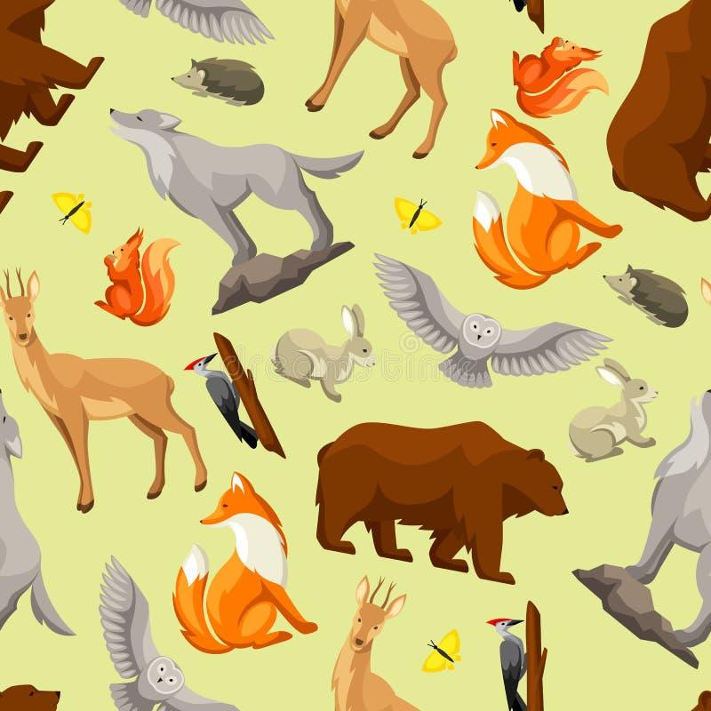 Sömlös modell med skogsmarkskogdjur och fåglar strålen för illustrationen för elementet för designen för trafikflygplanflygplanba royaltyfri illustrationer