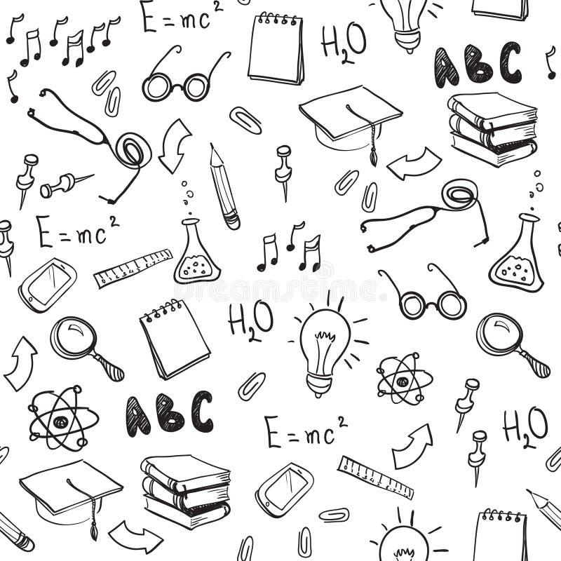 Sömlös modell med skolabeståndsdelar tillbaka skola till vektor illustrationer