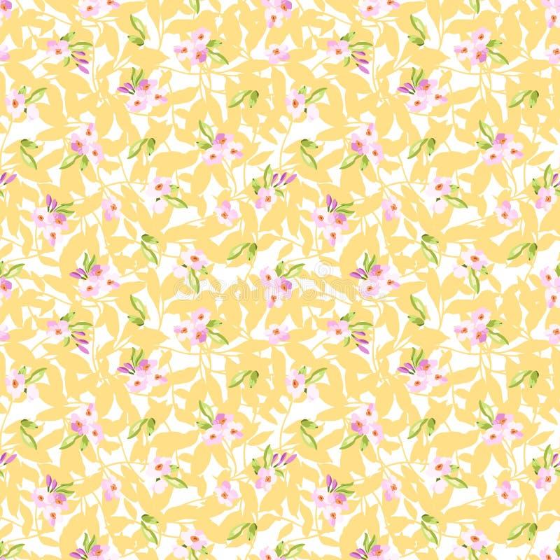 Sömlös modell med små rosa blommor stock illustrationer