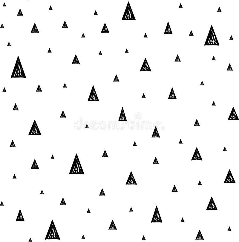 Sömlös modell med små trianglar Hand drog geometriska triangelformer stock illustrationer