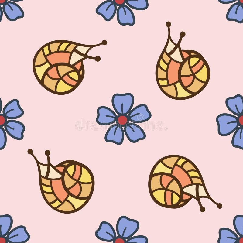 Sömlös modell med sniglar och blommor som dras i den drog stilen av handen färgrik illustration vektor illustrationer
