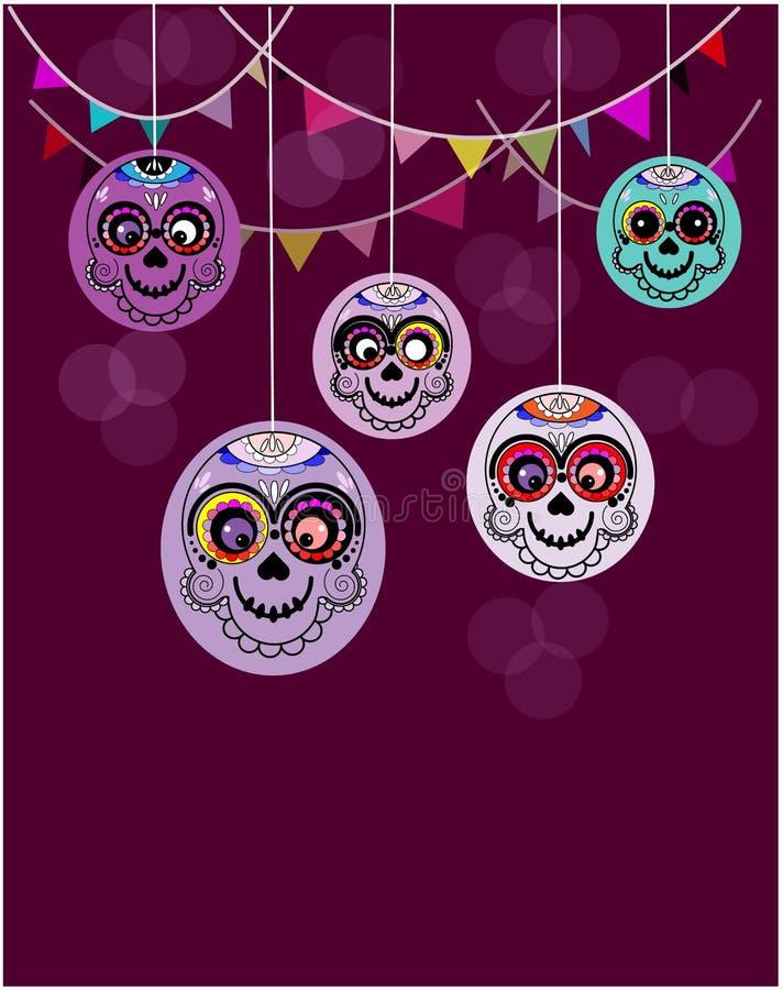 Sömlös modell med sockerskallar på violett bakgrund Mexicansk ferie royaltyfri illustrationer