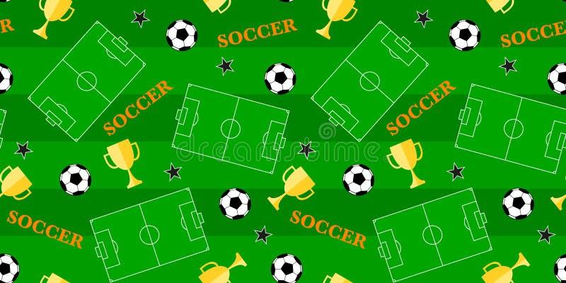 Sömlös modell med stadion, fotbollbollen och vinnarekoppen royaltyfri illustrationer