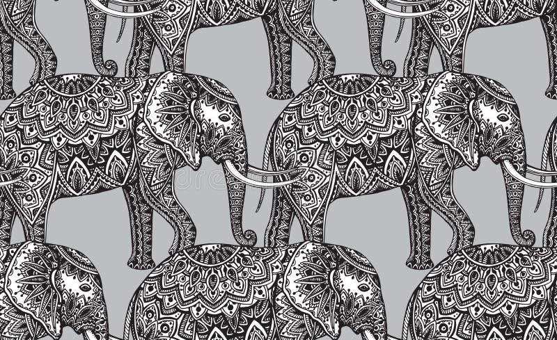 Sömlös modell med stiliserade dekorativa elefanter i indierst royaltyfri illustrationer