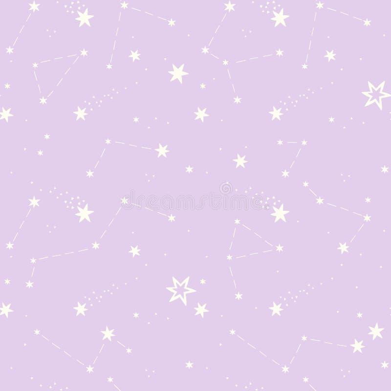 Sömlös modell med stjärnorna, konstellationer royaltyfri illustrationer