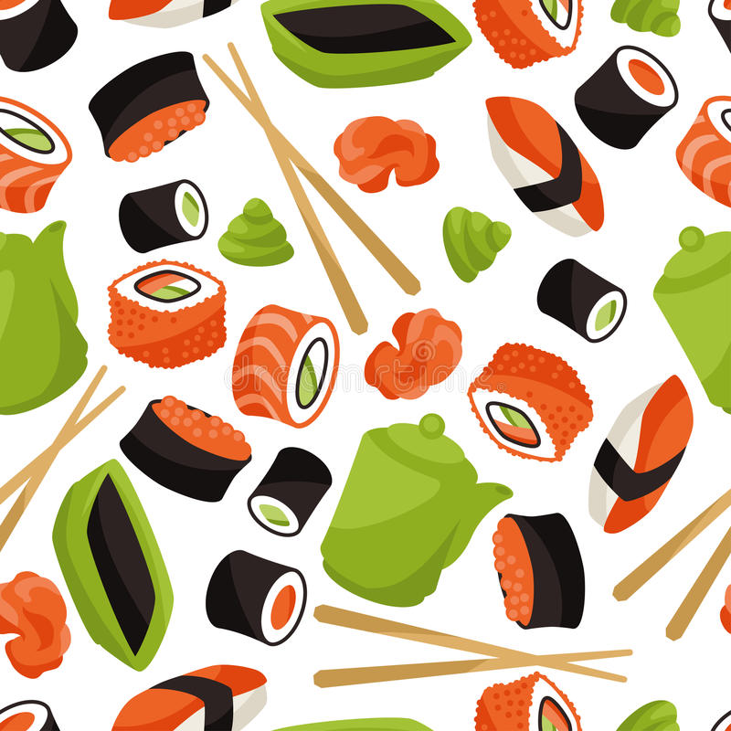 Sömlös modell med sushi stock illustrationer