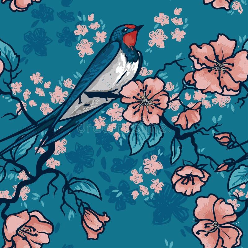Sömlös modell med svalasammanträde på blommande trädfilialer stock illustrationer