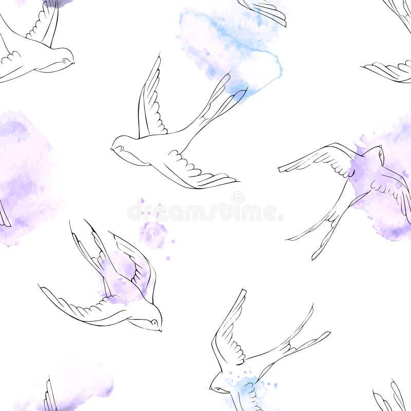 Sömlös modell med svalor Hand drog flygfåglar med målarfärgfläckar på bakgrund royaltyfri illustrationer
