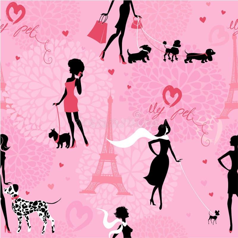 Sömlös modell med svarta konturer av trendiga flickor royaltyfri illustrationer