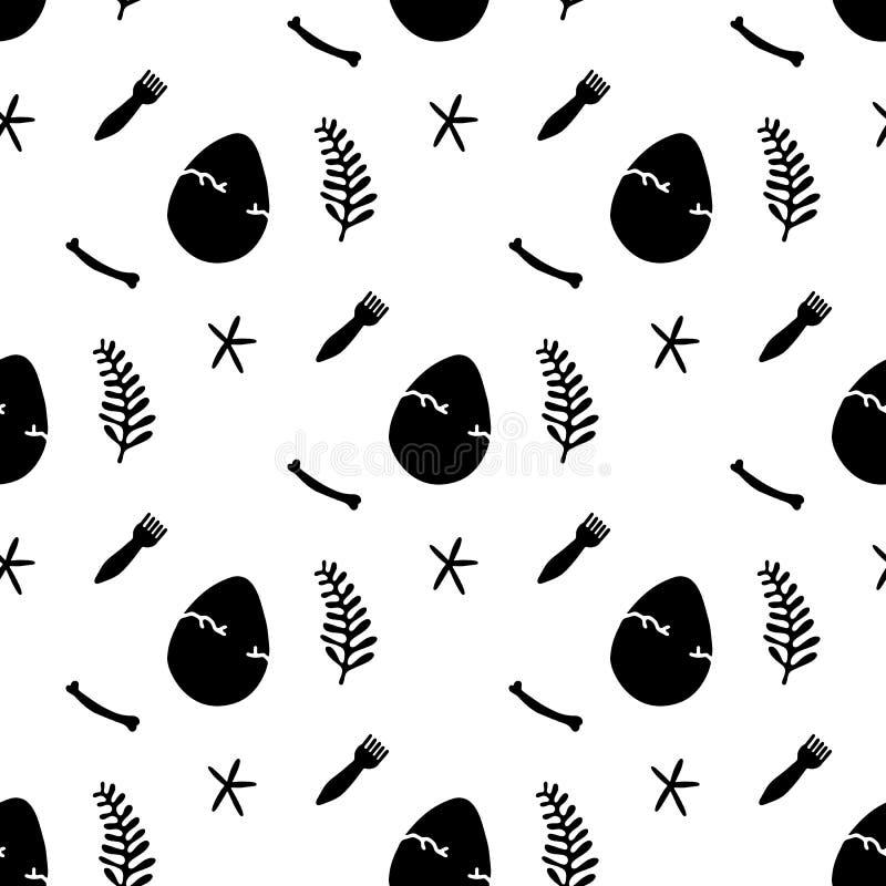 Sömlös modell med svarta tecknad filmägg, växter, stjärnor, borstar bakgrund isolerad white vektor illustrationer