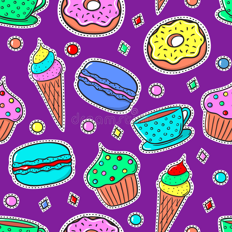 Sömlös modell med Sweets-02 stock illustrationer