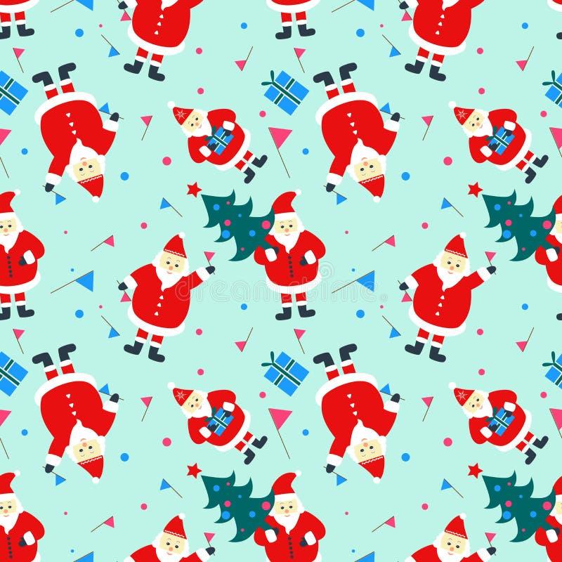 Sömlös modell med symboler för lyckligt nytt år: Santa Claus julgran, gåvor vektor illustrationer