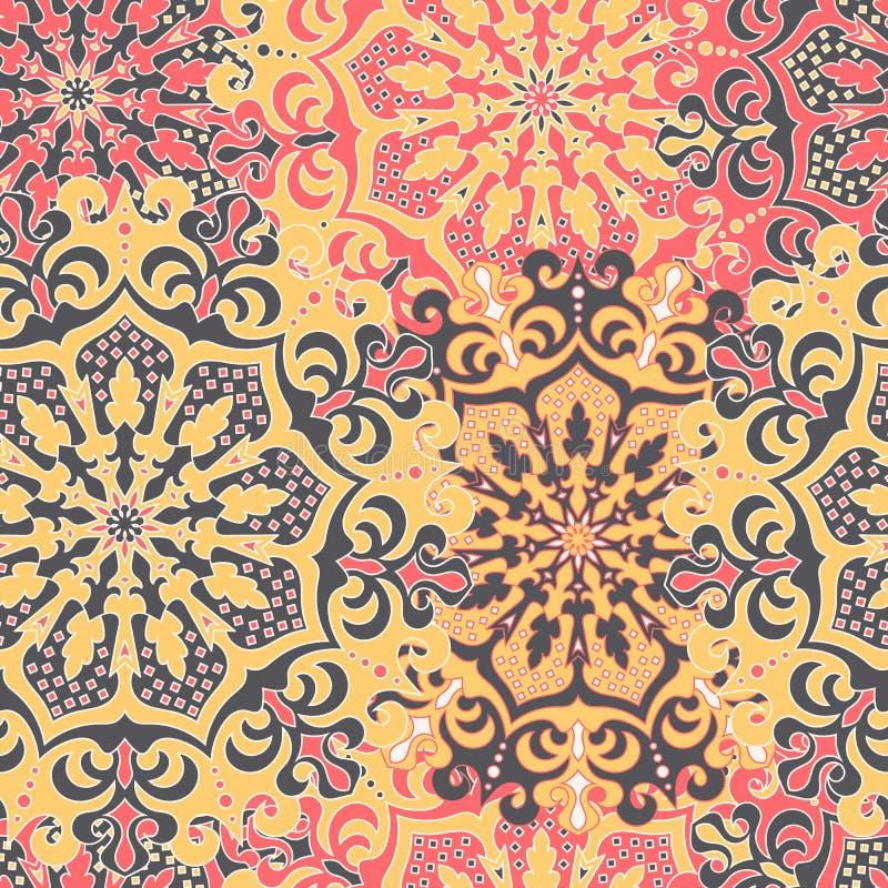 Sömlös modell med symmetriska mandalas Etnisk textur in vektor illustrationer